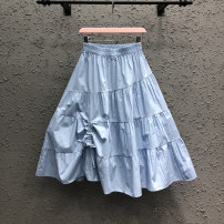 skirt Summer 2021 S,M,L,XL Blue, white, black, fruit green longuette commute High waist Pleated skirt Solid color Type A 71% (inclusive) - 80% (inclusive) other Other / other cotton Fold, strap Korean version