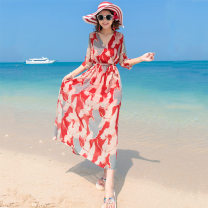 Dress Summer 2016 Graph color S,XL,L,M Mid length dress singleton  three quarter sleeve Sweet V-neck Decor routine Others 25-29 years old Printing, splicing 81% (inclusive) - 90% (inclusive) Chiffon polyester fiber