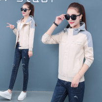 short coat Spring 2020 M L XL 2XL 3XL 4XL Black apricot Pink Long sleeves routine routine singleton  easy Versatile routine Hood zipper Solid color 25-29 years old Deins 96% and above polyester fiber polyester fiber Polyester 100% Pure e-commerce (online only)