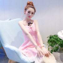 Dress Summer 2017 White, pink S,M,L Short skirt singleton  Sleeveless Sweet V-neck Solid color zipper A-line skirt camisole 18-24 years old Type A Lace