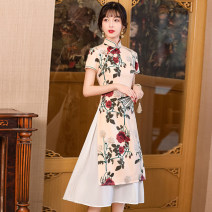 cheongsam Summer 2021 M L XL XXL 3XL 4XL Short sleeve long cheongsam Retro daily Oblique lapel Decor 18-25 years old Piping HSC4249 Red house polyester fiber Polyester 100% Pure e-commerce (online only)