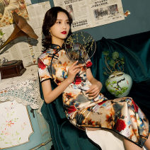 cheongsam Spring 2021 S M L XL XXL 3XL 4XL 9007 long colorful Short sleeve long cheongsam grace High slit daily Oblique lapel Decor 18-25 years old Piping HSC4048 Red house polyester fiber Polyester 92% polyurethane elastic fiber (spandex) 8% Exclusive payment of tmall