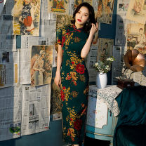 cheongsam Spring 2021 S M L XL XXL 3XL 4XL 9020 green Short sleeve long cheongsam grace High slit daily Oblique lapel Decor 18-25 years old Piping HSC4072 Red house polyester fiber Polyester 92% polyurethane elastic fiber (spandex) 8% Exclusive payment of tmall