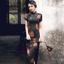 cheongsam Spring 2021 M L XL XXL 3XL 4XL TX long lace edge Phoenix Tail peony black 982 Short sleeve long cheongsam ethnic style High slit daily Oblique lapel Decor 18-25 years old Piping HSC4195 Red house polyester fiber Polyester 100% Pure e-commerce (online only)