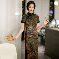 cheongsam Summer 2021 M L XL XXL 3XL 4XL Gold phoenix tail with lace Short sleeve long cheongsam Retro High slit daily Oblique lapel Decor 18-25 years old Piping HSC4234 Red house polyester fiber Polyester 92% polyurethane elastic fiber (spandex) 8% Pure e-commerce (online only)