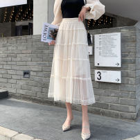 skirt Spring 2021 Xs, one size, XXS for height 140-160 Apricot, black Mid length dress Versatile High waist Cake skirt other 18-24 years old More than 95% other Zhenyaluo other