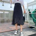 skirt Summer 2021 Xs, s, m, l, XL, XXS genuine small 145-155 Wave point, broken flower Mid length dress Versatile High waist A-line skirt Dot Type A 18-24 years old More than 95% other Zhenyaluo other