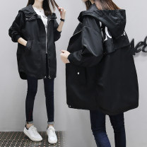 Women's large Spring 2020, autumn 2020 Windbreaker other moderate Long sleeves letter Hood polyester printing and dyeing raglan sleeve 18-24 years old 30% and below zipper