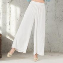 Casual pants White, light green, black, pink, gray M,L,XL,2XL Spring 2017 trousers Wide leg pants commute Thin money 31% (inclusive) - 50% (inclusive) hemp ethnic style