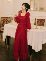 Dress Spring 2021 Red, white S,M,L longuette singleton  Long sleeves commute square neck High waist Solid color zipper Big swing pagoda sleeve Type A court Ruffles, hollows, bandages, zippers, lace Chiffon