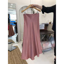 skirt Summer 2021 S,M,L,XL Pink, army yellow Mid length dress commute High waist A-line skirt Solid color 18-24 years old 51% (inclusive) - 70% (inclusive) other Simplicity