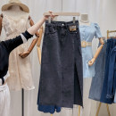 skirt Summer 2021 S,M,L,XL blue Mid length dress commute High waist A-line skirt Solid color Type A 18-24 years old 51% (inclusive) - 70% (inclusive) other Simplicity