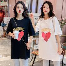 T-shirt M,L,XL,XXL Puff puff White, black Short sleeve summer Korean version Medium length letter routine Pure cotton (95% and above)