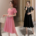 Dress Puff puff Pink (high quality version), black (high quality version), it is recommended to take a big size M,L,XL,XXL Korean version Short sleeve Medium length summer V-neck Solid color Pure cotton (95% and above) WS008681