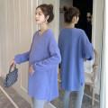 Dress Puff puff Korean version Long sleeves Medium length spring V-neck Solid color Cashmere