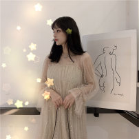 Dress Summer of 2019 Khaki, grey blue Average size Mid length dress Fake two pieces Long sleeves Sweet Crew neck Loose waist Solid color Socket Big swing Petal sleeve Others 18-24 years old Stitching, ruffle, lace, fold, bow, three-dimensional decoration, mesh 51% (inclusive) - 70% (inclusive) other