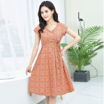 Dress Summer of 2019 Peach Pink pre-sale half a month delivery purple flowers orange flowers M L XL XXL XXXL Mid length dress singleton  Short sleeve commute Crew neck High waist Decor Pleated skirt Others 35-39 years old Type X Eve's Poems Retro Pocket 3D printing YFS19CZ-1172 More than 95% brocade