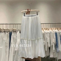 skirt Summer 2021 Average size White, black, apricot, blue Mid length dress commute High waist A-line skirt Solid color Type A 25-29 years old Other / other fold Korean version