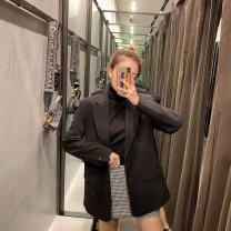 short coat Autumn of 2019 XS,S,M,L black Long sleeves routine routine singleton  Straight cylinder street TRAF 51% (inclusive) - 70% (inclusive) 2753/232