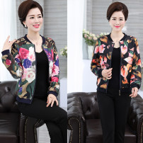 Middle aged and old women's wear Spring 2018, autumn 2018 fashion Jacket / jacket easy singleton  Decor 40-49 years old Cardigan moderate Crew neck routine routine pocket other zipper