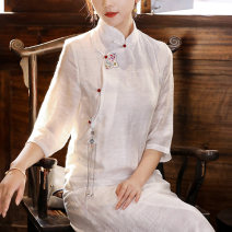 cheongsam Summer 2021 S M L XL white three quarter sleeve long cheongsam Retro No slits daily Oblique lapel Solid color 25-35 years old Embroidery WQL2012 Qingqiluo polyester fiber Other polyester 95% 5% Pure e-commerce (online only) 81% (inclusive) - 90% (inclusive)