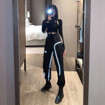 Casual suit Spring 2021 Black jacket, black overalls, black suit S,M,L,XL 18-25 years old Cool girl 51% (inclusive) - 70% (inclusive) polyester fiber