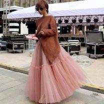 skirt Winter 2020 Skirt length 90, 70-140 Jin, skirt length 80 cm longuette Versatile High waist Pleated skirt Solid color Type A 18-24 years old 91% (inclusive) - 95% (inclusive) polyester fiber Gauze