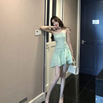 Dress Spring 2020 Pink Blue Green S M Middle-skirt singleton  Sleeveless commute One word collar High waist Solid color other Princess Dress other camisole 18-24 years old Sendery Korean version XDL86101506 More than 95% other Other 100% Pure e-commerce (online only)