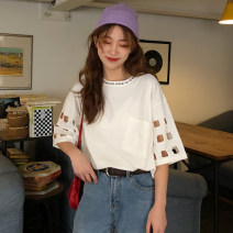 T-shirt M,L,XL,2XL Summer of 2019 Short sleeve Crew neck easy Regular routine commute cotton 86% (inclusive) -95% (inclusive) 18-24 years old Korean version originality letter rihanwanggou