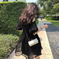 Dress Summer 2021 black S,M,L,XL Short skirt singleton  Short sleeve Sweet One word collar Solid color A-line skirt puff sleeve Others 25-29 years old Type A CL000389 51% (inclusive) - 70% (inclusive) Chiffon
