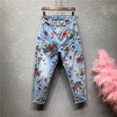 Jeans Spring 2020 Light blue, black, light blue 2 26,27,28,29,30,31,32,33,34 Ninth pants High waist Haren pants routine 18-24 years old Color painting, washing Cotton elastic denim light colour Other / other 91% (inclusive) - 95% (inclusive)
