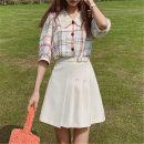 skirt Summer 2021 S,M,L,XL Short skirt Versatile Natural waist A-line skirt Solid color Type A 18-24 years old 91% (inclusive) - 95% (inclusive) other Other / other polyester fiber