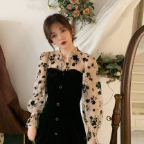 Professional dress suit S M L XL Black short dress black long dress Spring 2021 Long sleeves Other styles A-line skirt 18-25 years old Empress ya Polyester 80% other 20% Pure e-commerce (online only) 51% (inclusive) - 70% (inclusive)