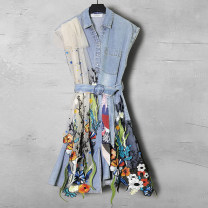 Dress Spring 2021 Blue (belt) S M L XL 2XL Middle-skirt singleton  Sleeveless commute Polo collar middle-waisted Decor Socket other other 35-39 years old Duo Yue literature Splicing 26006A More than 95% other Other 100% Pure e-commerce (online only)