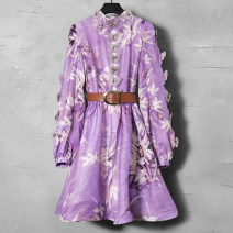 Dress Spring 2021 Purple (belt) S M L XL Mid length dress singleton  Long sleeves commute stand collar middle-waisted Decor Socket other other 35-39 years old Duo Yue lady More than 95% other Other 100% Pure e-commerce (online only)