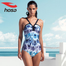 one piece  Hosa / Haosha M,L,XL Green and purple Triangle one piece swimsuit With chest pad without steel support Nylon, spandex, polyester female Sleeveless Casual swimsuit
