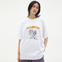 T-shirt Youth fashion White, black routine S,M,L,XL,XS wassup Short sleeve Crew neck standard Other leisure Four seasons Cotton 50% LINEN 50% teenagers Off shoulder sleeve tide Cotton wool 2019 Alphanumeric printing cotton Cartoon animation washing Fashion brand 50% (inclusive) - 69% (inclusive)