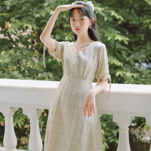 Dress Summer 2021 Light green, apricot yellow S,M,L Mid length dress Short sleeve commute V-neck Elastic waist lattice Socket A-line skirt puff sleeve Others 25-29 years old Type A literature Bow, tuck, fold, lace, button, print cotton