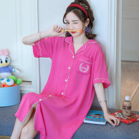 Nightdress Good west M L XL XXL Cartoon Short sleeve pajamas Middle-skirt summer Solid color youth Crew neck viscose  printing More than 95% Silk YMX skirt-206177 200g and below Spring 2020 Viscose (viscose) 100% Pure e-commerce (online only)