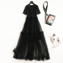 Dress Summer 2021 black S,M,L,XL,XXL longuette Two piece set Short sleeve street Crew neck High waist Solid color Socket A-line skirt routine Others 25-29 years old Type A straps 51% (inclusive) - 70% (inclusive) other polyester fiber Europe and America