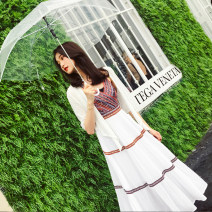 Dress Summer 2021 Single skirt , skirt + Two piece suit XS,S,M,L,XL Mid length dress Two piece set Sleeveless commute V-neck High waist stripe zipper A-line skirt other camisole 18-24 years old Type A ethnic style Backless, stitched, printed More than 95% other cotton