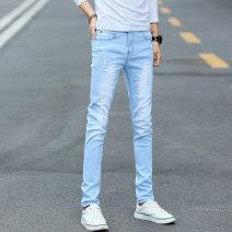 Jeans Youth fashion Korepall / Han Pei English Pocket Blue routine Micro bomb Regular denim 816# Cotton 77% polyester 22% polyurethane elastic fiber (spandex) 1% Spring of 2018 Pure e-commerce (online only)