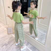 suit Other / other Green, white, purple 110cm,120cm,130cm,140cm,150cm,160cm female summer Korean version Short sleeve + pants 2 pieces Thin money There are models in the real shooting Socket nothing lattice other children Learning reward 67tz8636 cartoon doughnut set Class B Chinese Mainland