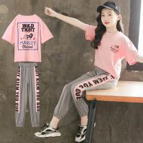 suit Cute eyes Pink + grey pants, Yellow + white pants 120cm,130cm,140cm,150cm,160cm,170cm female summer Korean version Short sleeve + pants 2 pieces Thin money There are models in the real shooting Socket No detachable cap Cartoon animation cotton children Expression of love BXT0168 Class B