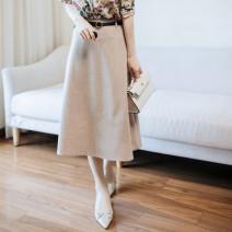 skirt Winter 2020 S,M,L,XL Blue, black, beige Mid length dress Versatile High waist Umbrella skirt Type A other Other / other cotton