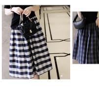 skirt Summer 2020 M, L Sapphire blue, navy blue Middle-skirt High waist lattice Type A More than 95% cotton