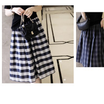skirt Summer 2020 M, L Sapphire blue, navy blue Middle-skirt High waist lattice Type A More than 95% cotton