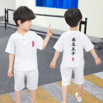suit Scholar Prince White suit, khaki suit 100cm,110cm,120cm,130cm,140cm male summer solar system Short sleeve + pants 2 pieces routine There are models in the real shooting nothing children Expression of love Class B Two, three, four, five, six, seven, eight, nine Chinese Mainland