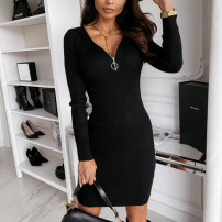 Dress Autumn 2020 S,M,L,XL,2XL Middle-skirt singleton  Long sleeves street V-neck middle-waisted Solid color zipper Pencil skirt routine 25-29 years old Type H zipper 31% (inclusive) - 50% (inclusive) other polyester fiber Europe and America