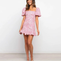 Dress Spring 2021 Pink, yellow S,M,L,XL Short skirt singleton  Short sleeve street square neck High waist Broken flowers Socket Ruffle Skirt puff sleeve 18-24 years old Type A printing 51% (inclusive) - 70% (inclusive) other cotton Europe and America